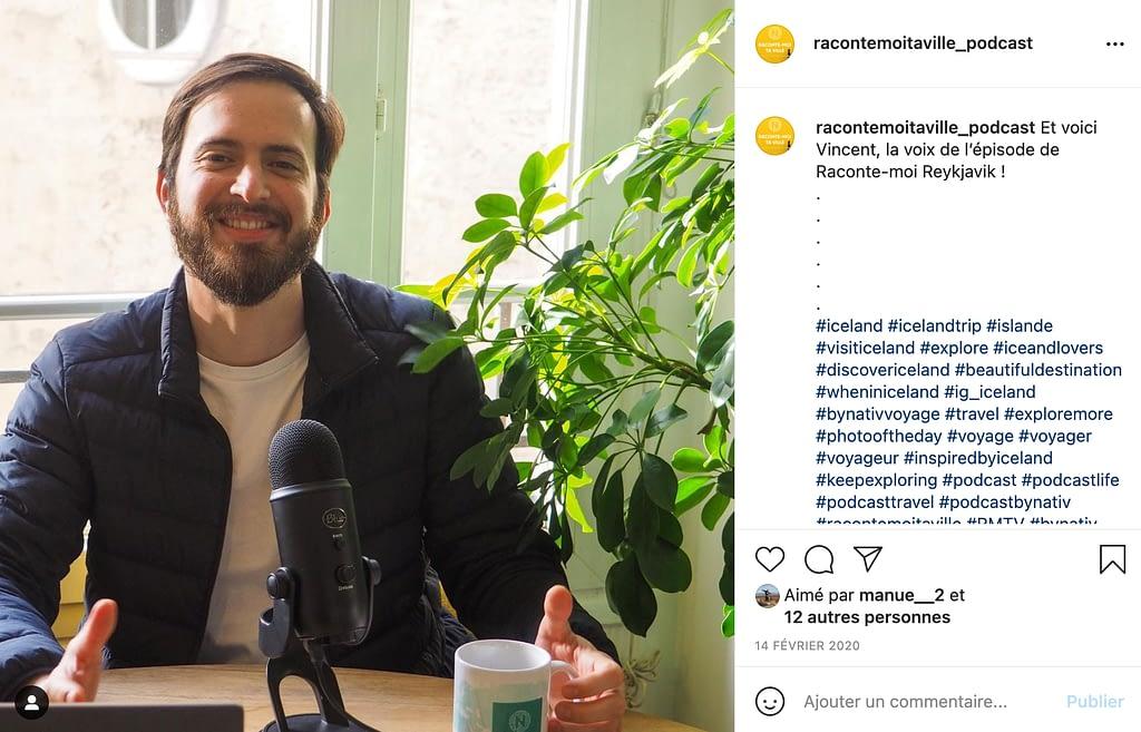 Post Instagram pour communiquer sur un Podcast